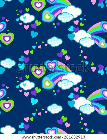 cute celestial print ~ seamless background - stock vector