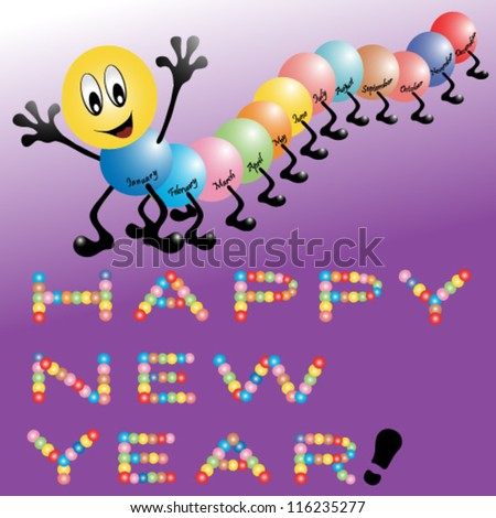 Cute centipede wishes a Happy New Year - stock vector