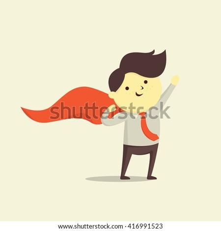Cute character of businessman in superhero concept, vector illustration design. - stock vector