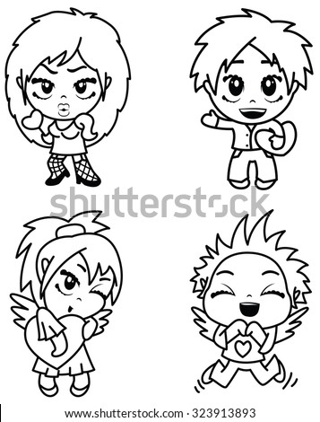 Cute characters set with hearts - stock vector