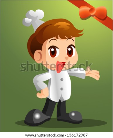 cute chef character - stock vector