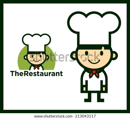 Cute Chef Character mascot and icon set, vector - stock vector
