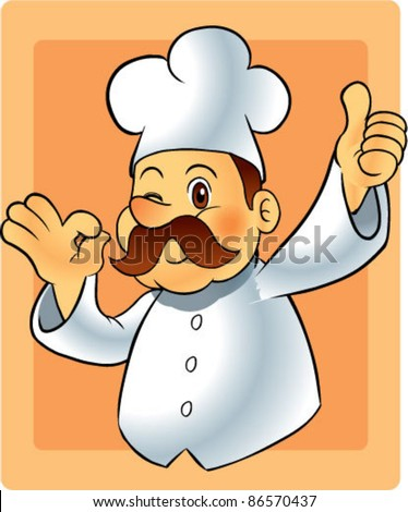 cute chef show good pose - stock vector