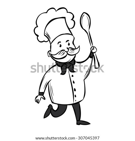 Cute Chef with a mustache and a huge spoon. Hand drawn cartoon vector illustration. - stock vector