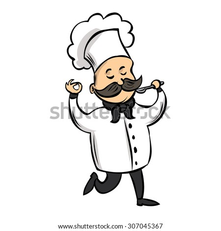 Cute Chef with a mustache tastes food. Hand drawn cartoon vector illustration. - stock vector