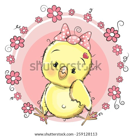 Cute chicken girl with egg on the meadow - stock vector