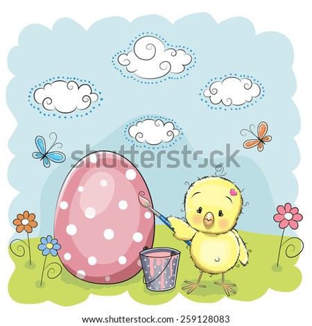 Cute chicken paint eggs on the meadow - stock vector