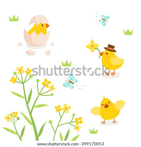 Cute chicks with spring flower and butterfly - stock vector