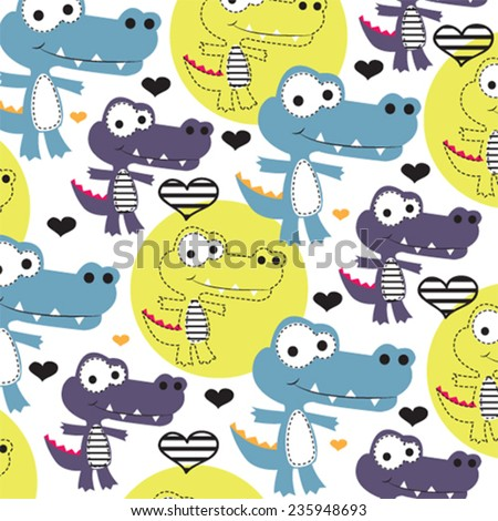 cute childish pattern with crocodile vector illustration - stock vector
