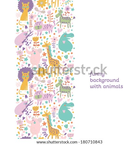 Cute childish seamless pattern with lion, tiger, zebra, hippopotamus, koala and elephant. Can be used for pattern fills, web page backgrounds, surface textures. Great for children bedroom wallpaper - stock vector