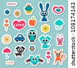 Cute childish stickers - stock vector