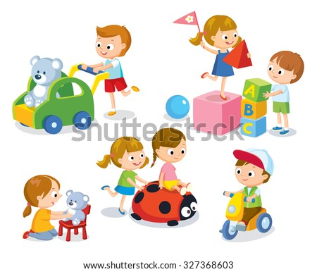 cute children in the kindergarten playing with toys - stock vector