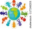 Cute children silhouettes around the World. Earth Planet with colored children silhouettes. - stock vector