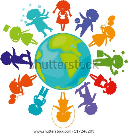 Cute children silhouettes around the World. Earth Planet with colored children silhouettes. - stock vector