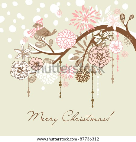 Cute christmas card with a winter bird - stock vector