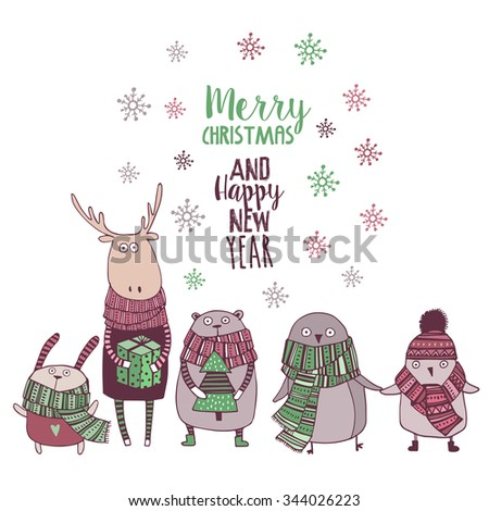 Cute christmas card with cute animal in cartoon style - stock vector