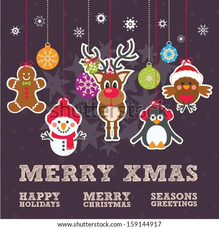Cute Christmas Characters Gingerbread Man, Snowman, Reindeer, Penguin and Robin on a dark purple textured background with Merry Christmas text and bauble christmas Tree Decorations - stock vector