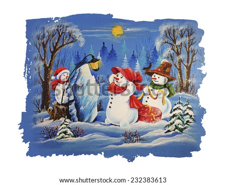 Cute Christmas Characters. Snowman Family Christmas Card. Father snowman, mother snowman and snowman child celebrating Christmas and sharing gifts. - stock vector