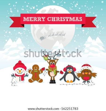 Cute Christmas Characters Snowman, Gingerbread Man, Robin Red Breast, Penguin and Reindeer. Merry Christmas red ribbon text on a snow scene background with snowflakes, full moon and santa's sleigh - stock vector