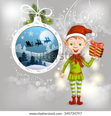 Cute Christmas elf holding a gift - stock vector
