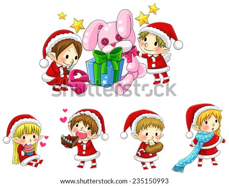 Cute Christmas elves in cartoon style collection set, create by vector - stock vector