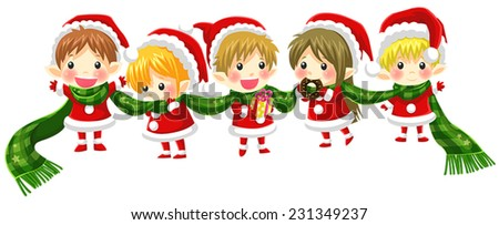 Cute Christmas elves tie together with a long scarf in a concept of greeting and happiness (with no black outline version), create by vector  - stock vector