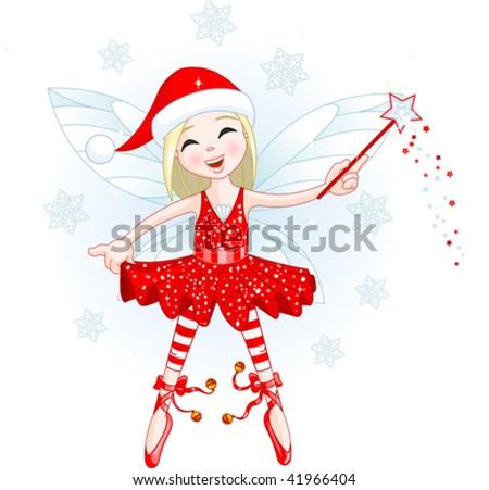 Cute Christmas fairy flying . All objects are separate groups - stock vector