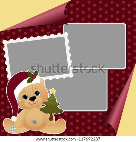 Cute christmas frame template blank - stock vector