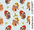 Cute Christmas owl with presents seamless pattern - stock vector