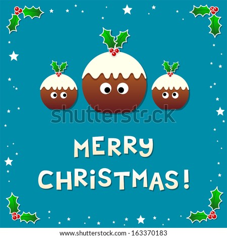 Cute Christmas Puddings Wishing a Merry Christmas - stock vector
