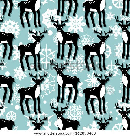 Cute christmas seamless pattern with deer - stock vector