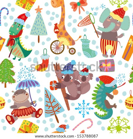 Cute  Christmas seamless pattern with wild animals from Africa.iguana, giraffe, hippo, elephant, crocodile, koala - stock vector