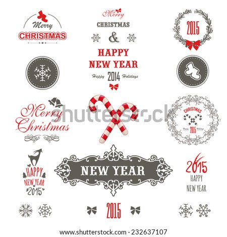 Cute Christmas set. Set of christmas ornaments and decorative elements, vintage banner, ribbon, labels, frames, badge, stickers.Christmas wreath. - stock vector