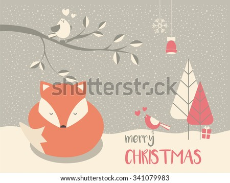 Cute Christmas sleepy baby fox surrounded with floral decoration, vector illustration - stock vector