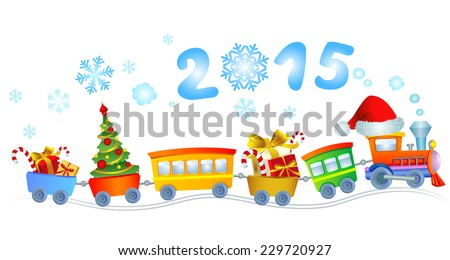 Cute Christmas train with a smoke in a look a 2015. - stock vector