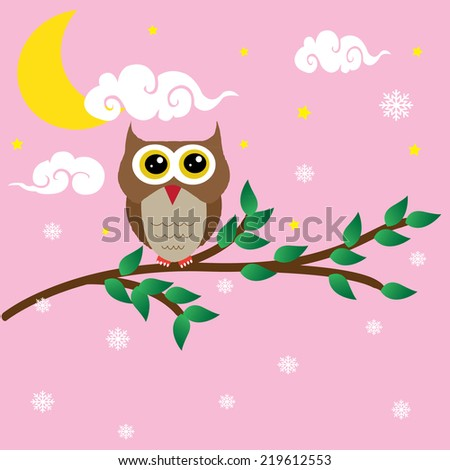 Cute Christmas vector set with funny owls. Raster version. - stock vector