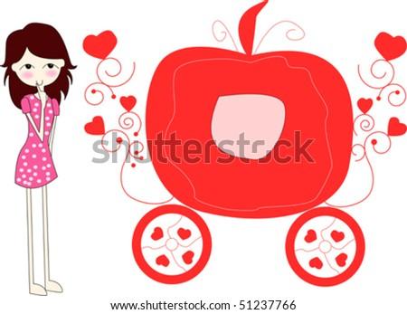 Cute Cinderella's carriage and girl,vector - stock vector