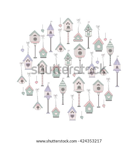 Cute circle pattern with bird houses. Cute pastel card. - stock vector