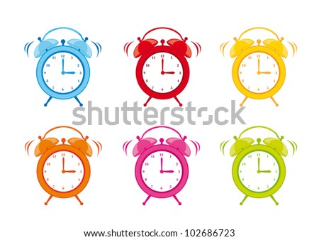 cute clock alarm isolated over white background. vector illustration - stock vector