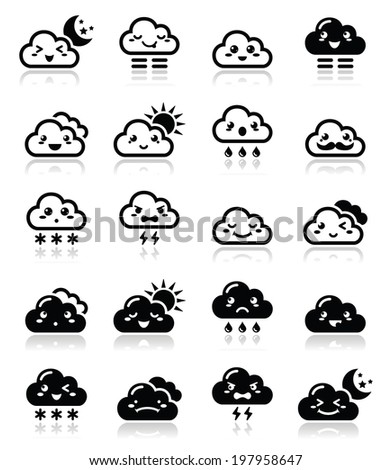 Cute cloud - Kawaii, Manga black icons with different expressions - happy, sad, angry  - stock vector