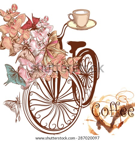 Cute coffee illustration with old-fashioned fake bicycle with basket fully of orchids and butterflies fly around it - stock vector