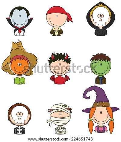 Cute collection of Halloween boy and girl character avatars - stock vector