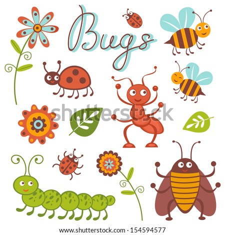 Cute collection of happy little bugs - stock vector