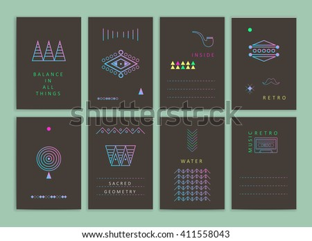 Cute Collection of neon Templates and modern creative cards. Hipster textures and shapes. Retro patterns for Posters, Flyers and Banner Designs. - stock vector