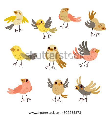 Cute collection set of nine funny birds in soft autumn theme pastel colors - stock vector