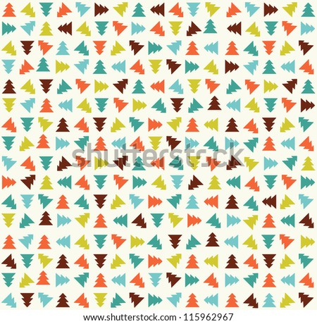 Cute color christmas tree pattern. Vector illustration - stock vector