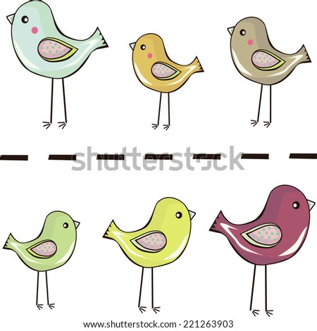 Cute colorful birds standing in a row background - stock vector