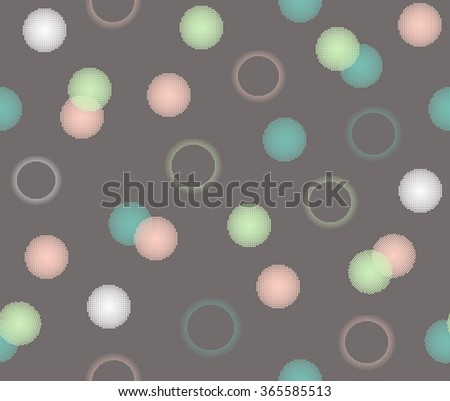 Cute colorful doodle circle dot with sweet pastel color on brown background design, pattern, seamless, wallpaper. - stock vector