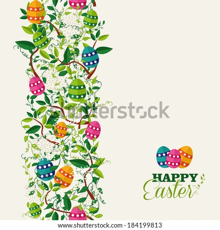 Cute colorful Easter seamless pattern with flowers and colors eggs. EPS10 vector file organized in layers for easy editing. - stock vector