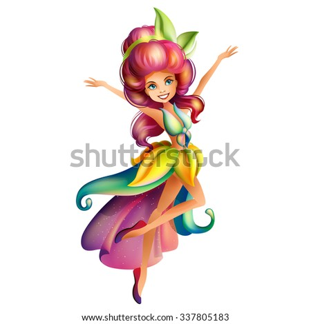 Cute colorful fairy character - stock vector